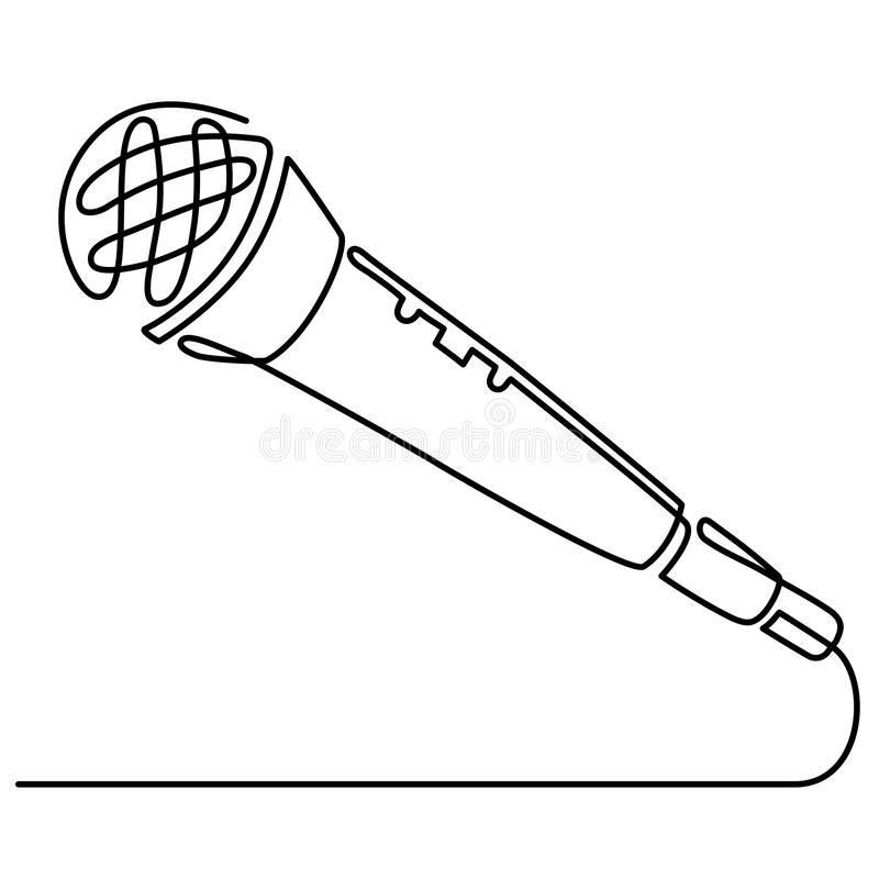 Continuous Line Drawing of Vector wired microphone icon thin line for web and mobile, modern minimalistic linear design.  royalty free illustration