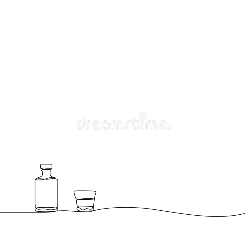 Continuous line drawing Whiskey and a glass. Vector illustration. vector illustration