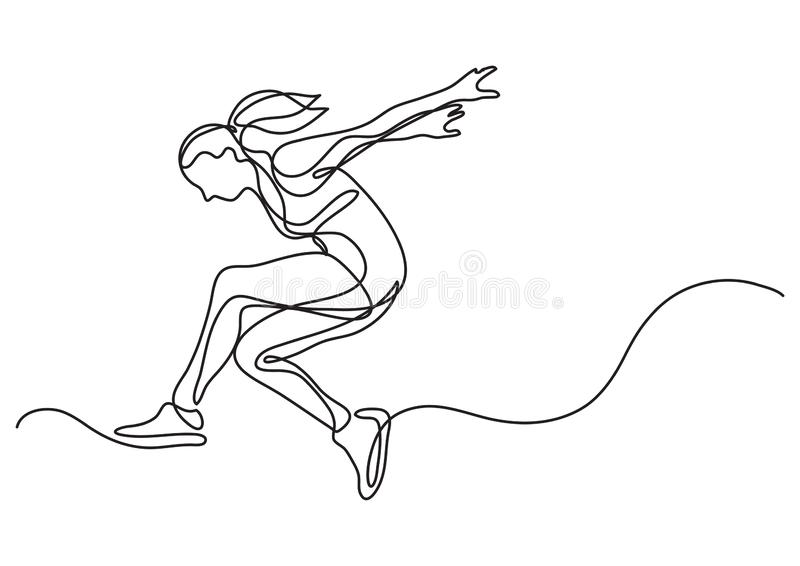 Continuous line drawing of woman athlete moving. Vector linear illustration vector illustration