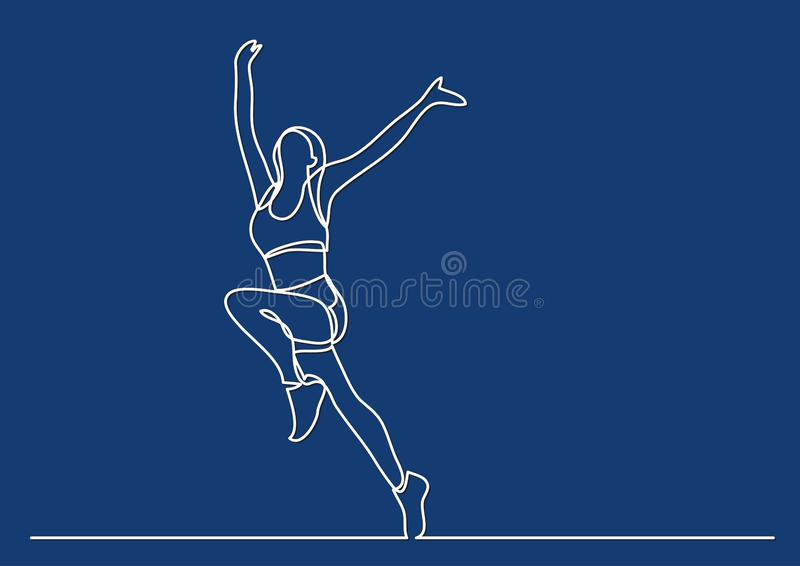 Continuous line drawing of woman athlete winning stock illustration