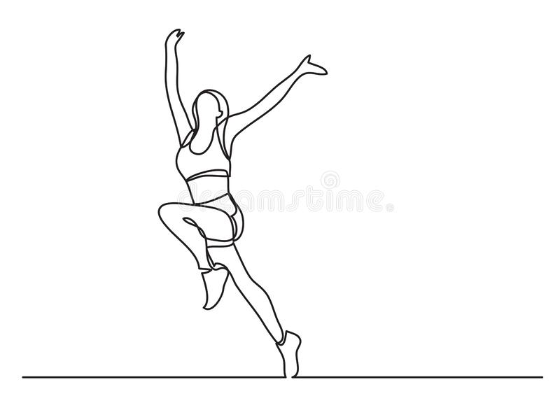 Continuous line drawing of woman athlete winning. Vector linear illustration stock illustration