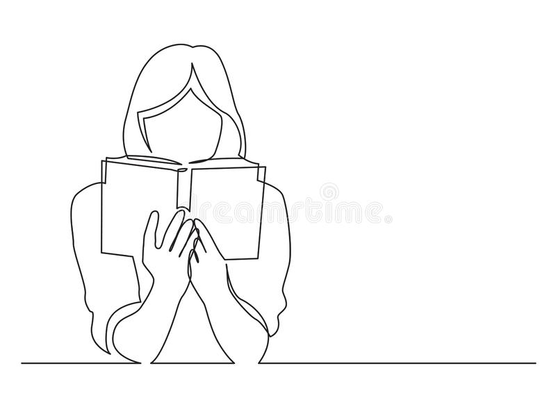 Continuous line drawing of woman focused on reading interesting book. Vector linear monochrome illustration stock illustration