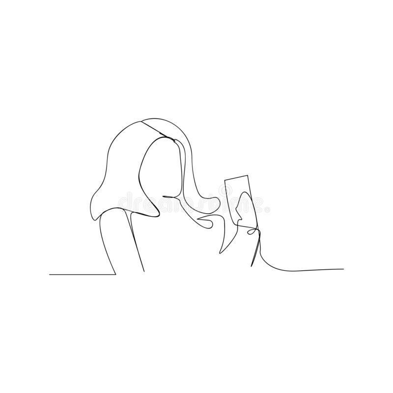 Continuous line drawing of woman looking mobile phone. isolated sketch drawing of woman looking mobile phone line concept. outline. Thin stroke vector vector illustration
