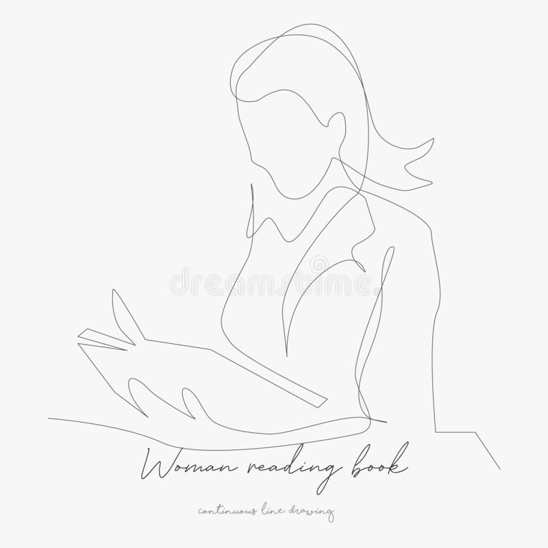 Continuous line drawing. woman reading book. simple vector illustration. woman reading book concept hand drawing sketch line. Continuous line drawing. woman stock illustration