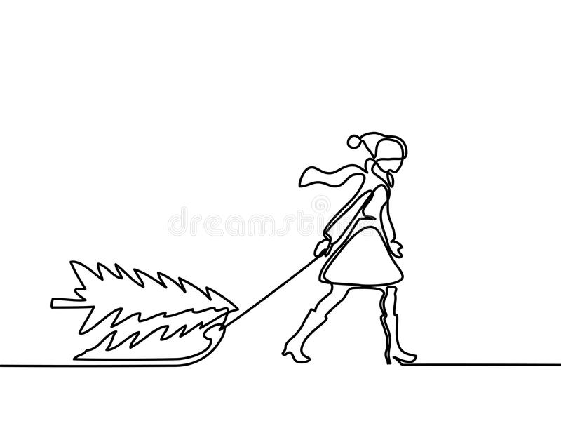 Woman walking with christamas tree on sled vector illustration