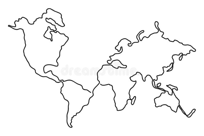 Continuous Line Drawing Of World Map One Line Map Of The Earth