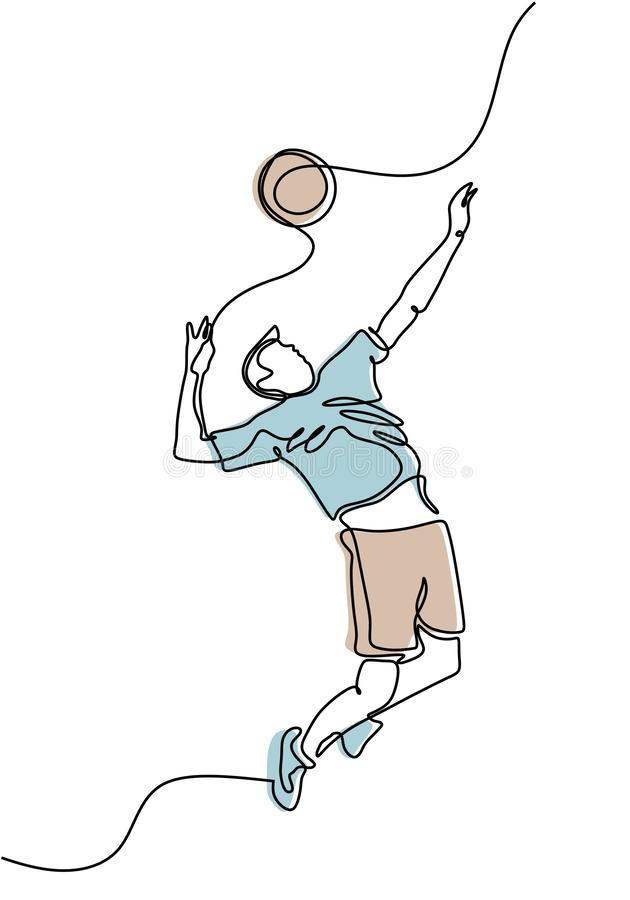 Continuous line drawing of young man athlete volleyball fitness concept sports health vector illustration royalty free illustration