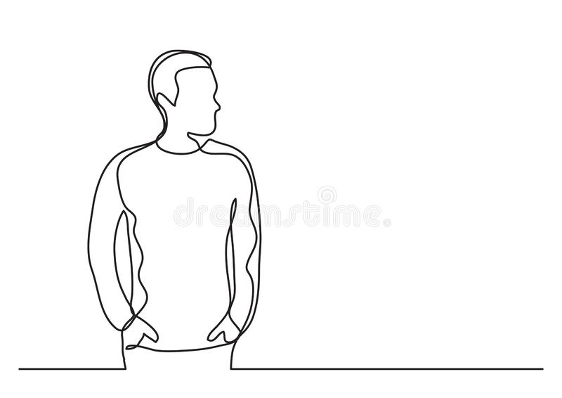 Continuous line drawing of young man. Vector linear illustration royalty free illustration