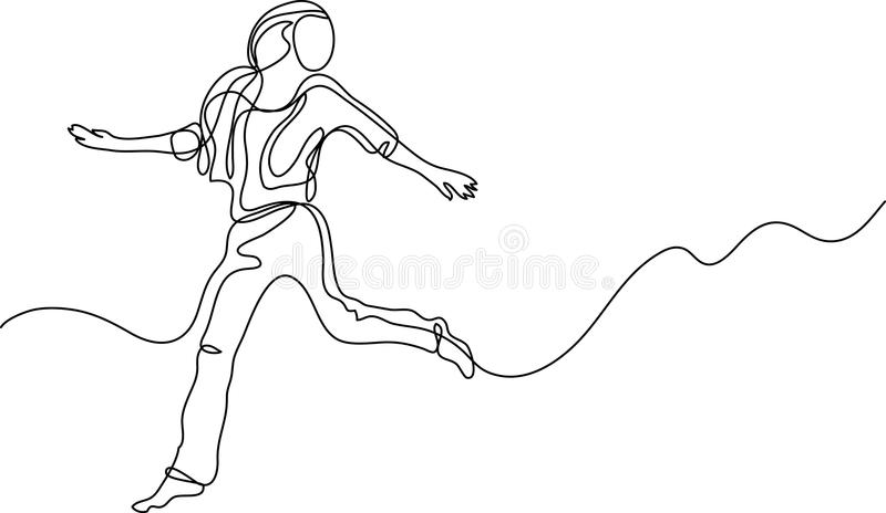 Line Drawing Editor : Continuous line drawing of youth soccer players stock