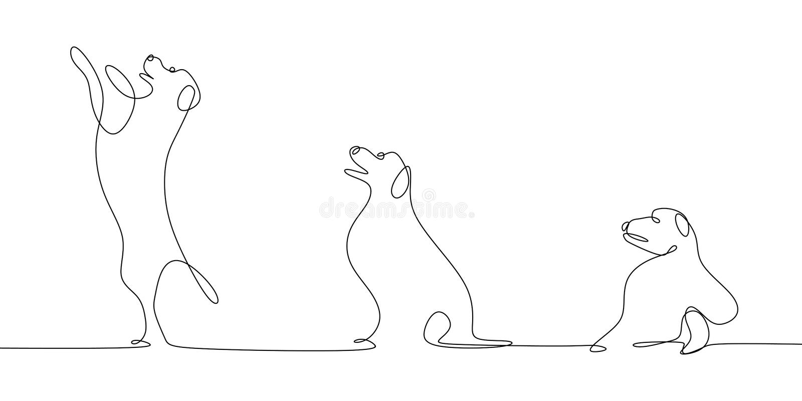 Continuous line drawings of dogs want to jump stock illustration