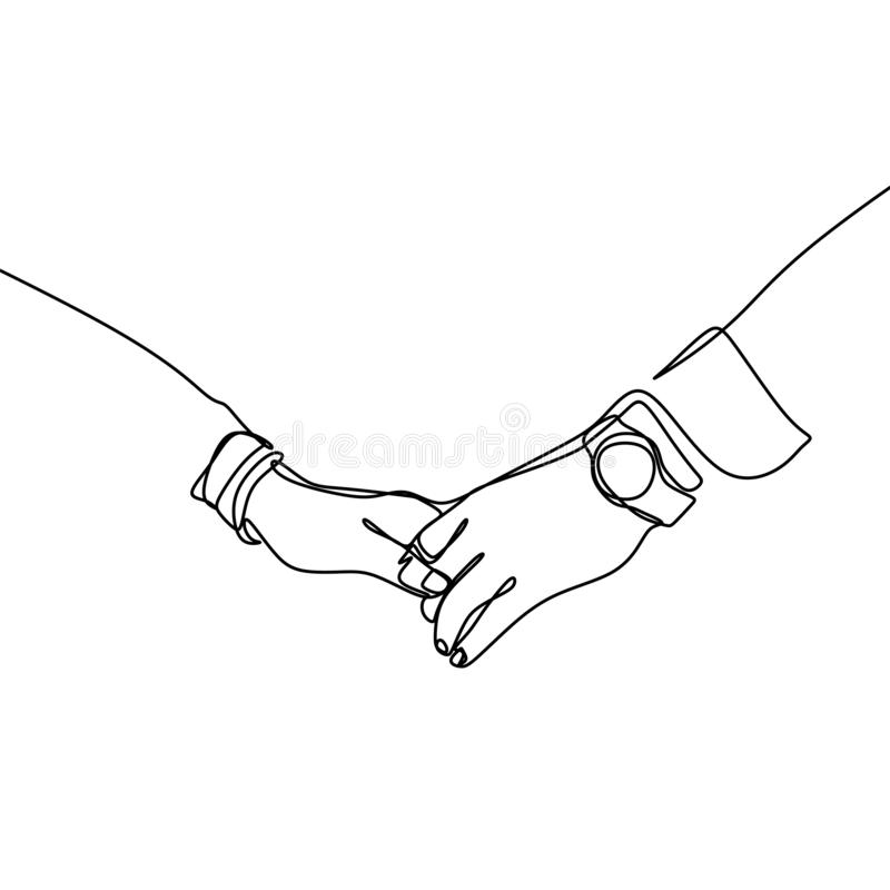 Continuous line drawings of hands holding together stock illustration