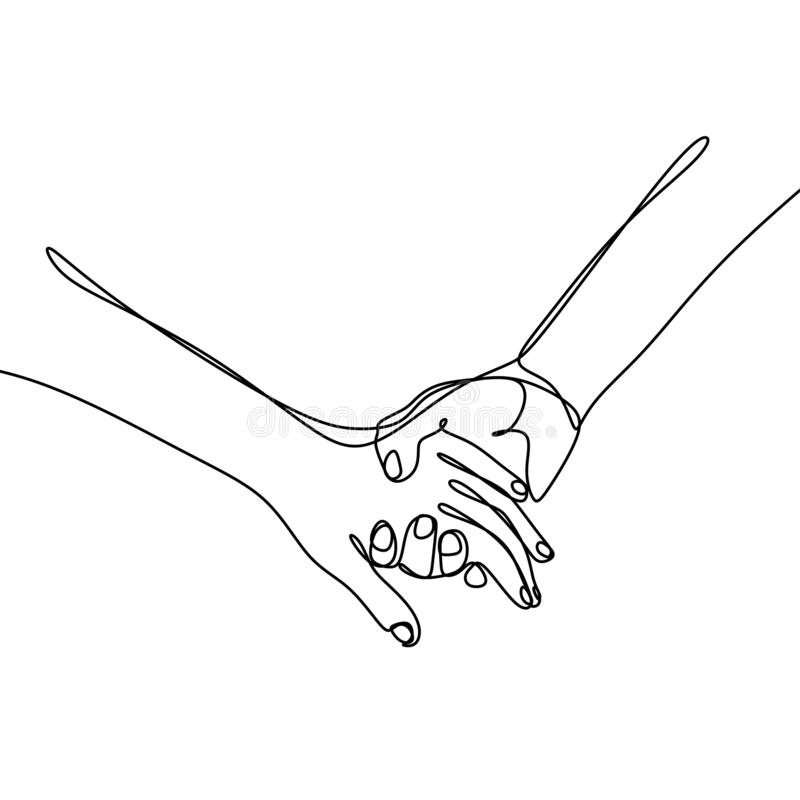 Continuous line drawings of hands holding together vector illustration
