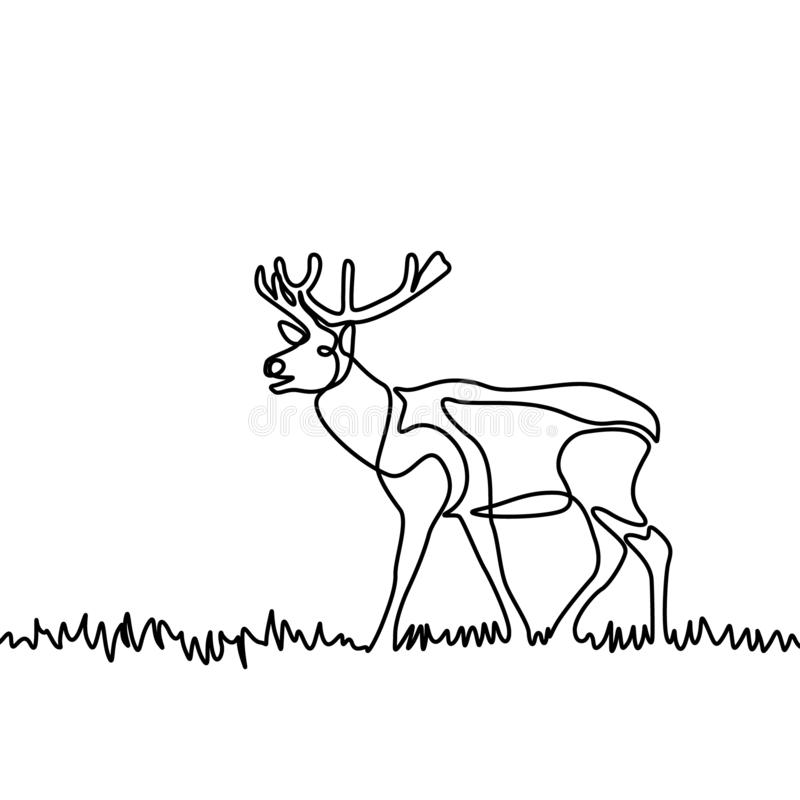 Continuous line elk standing in the grass or meadow. Vector illustration. royalty free illustration