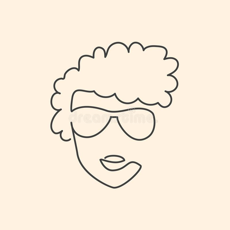Continuous line face in sun glasses drawing stock illustration