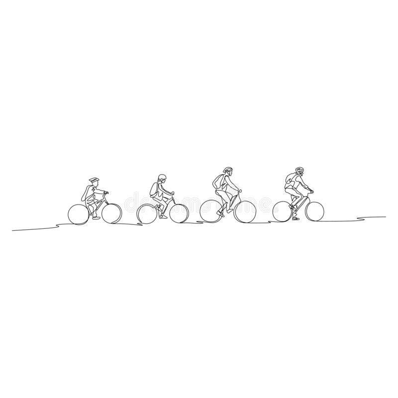 Continuous line family on bicycles go to walk. Family concept royalty free illustration