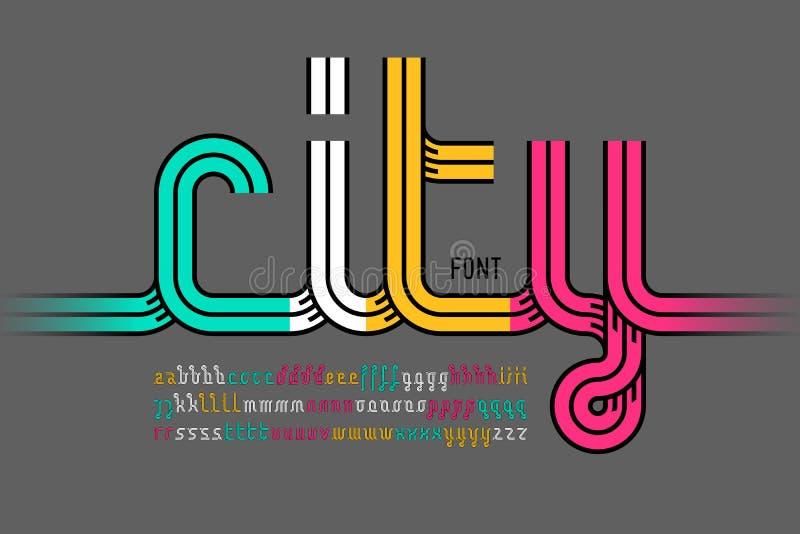 Continuous line font stock illustration