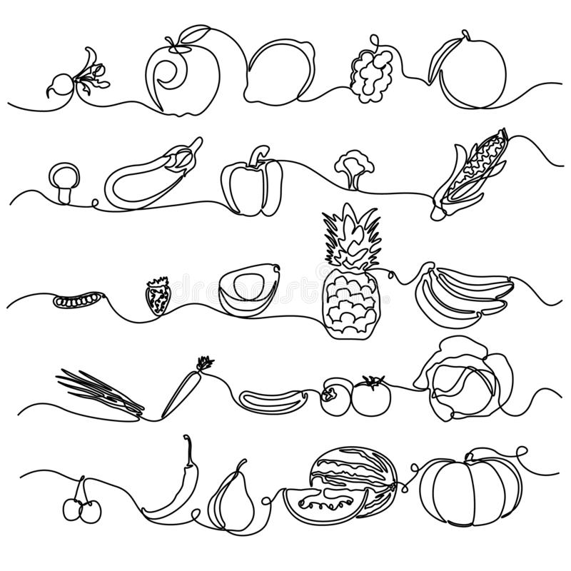 Continuous line Fruits and Vegetables. Design element for grocery store, vegetable shop. Vector illustration. vector illustration