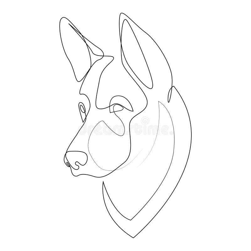 Continuous line German Shepherd. Single line minimal style Shepherd dog vector illustration. Portrait vector illustration