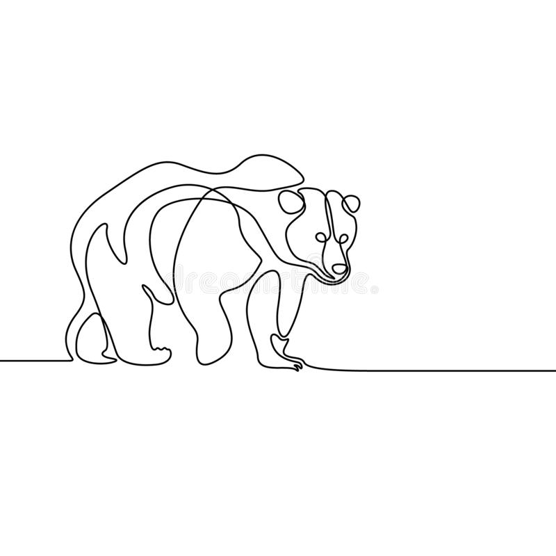 Continuous line going bear on white background vector illustration
