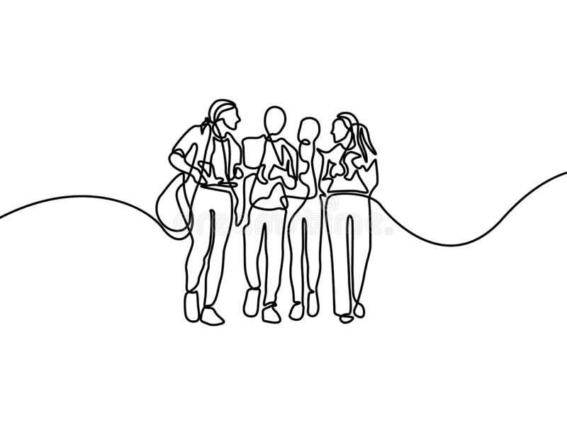 Continuous line group of talking students. First day of college. Vector illustration. stock illustration