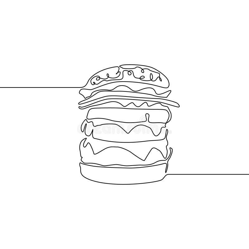 Continuous line Hamburger or burger or big burger or cheesburger. Vector illustration. stock illustration