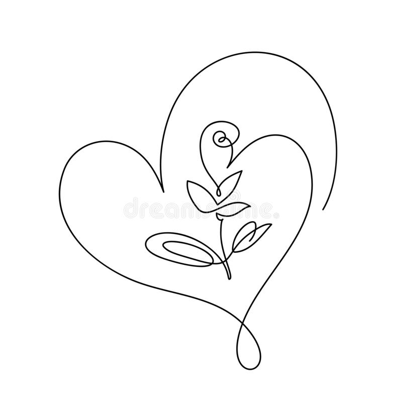 Free Continuous Line Hand Drawing Calligraphic Vector Flower With Heart. Concept Logo Beauty. Monoline Spring Floral Design Royalty Free Stock Images - 164265329