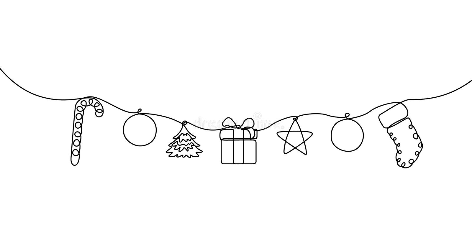 Continuous line hanging candy, ball, christmas tree, gift box, star and sock vector illustration