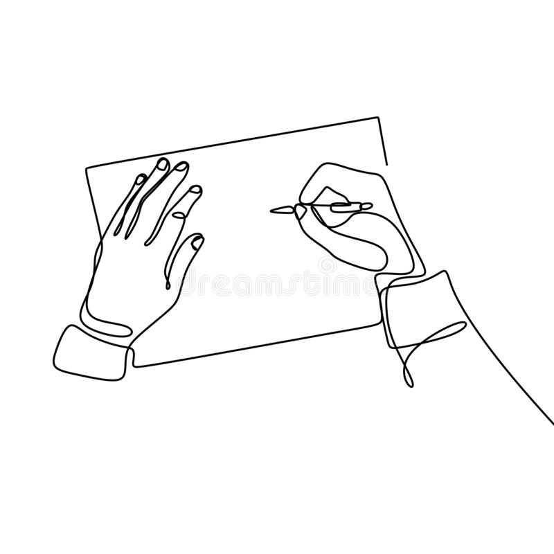 A continuous line of images written in an open book next to a cup of coffee and a smartphone. Writing a single line drawing design. Concept, vector, lines stock illustration