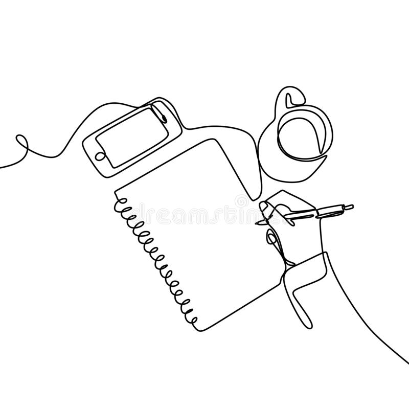 A continuous line of images written in an open book next to a cup of coffee and a smartphone. Writing a single line drawing design. Concept, vector, lines royalty free illustration