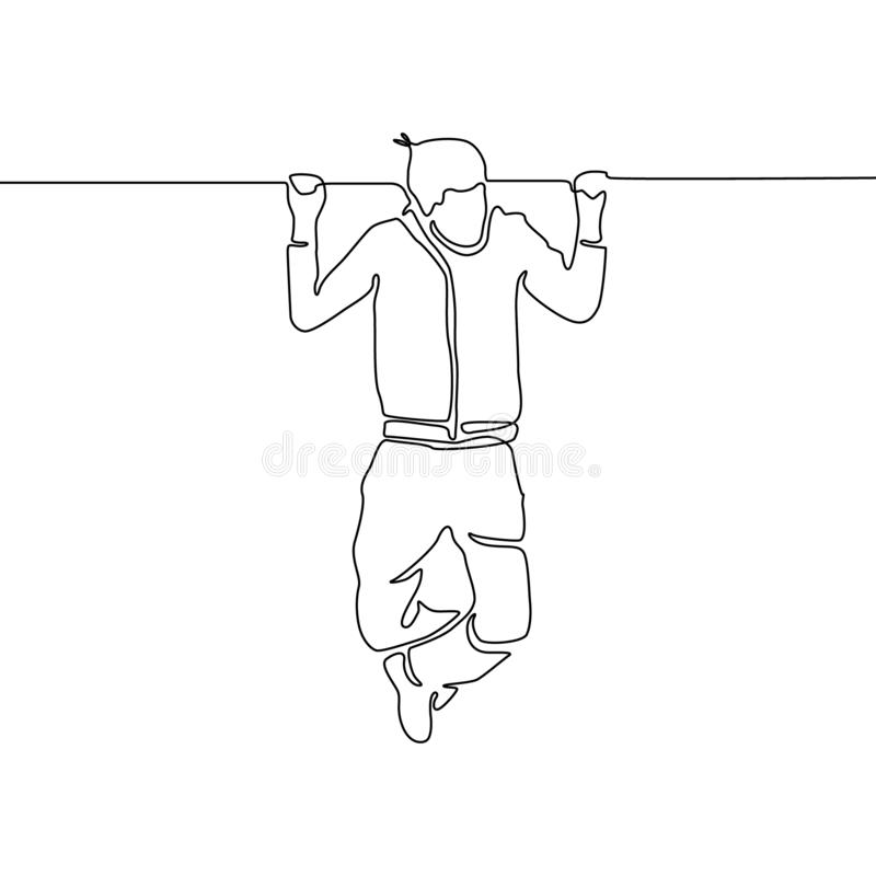 Continuous line man hanging on the horizontal bar. Vector illustration. royalty free illustration