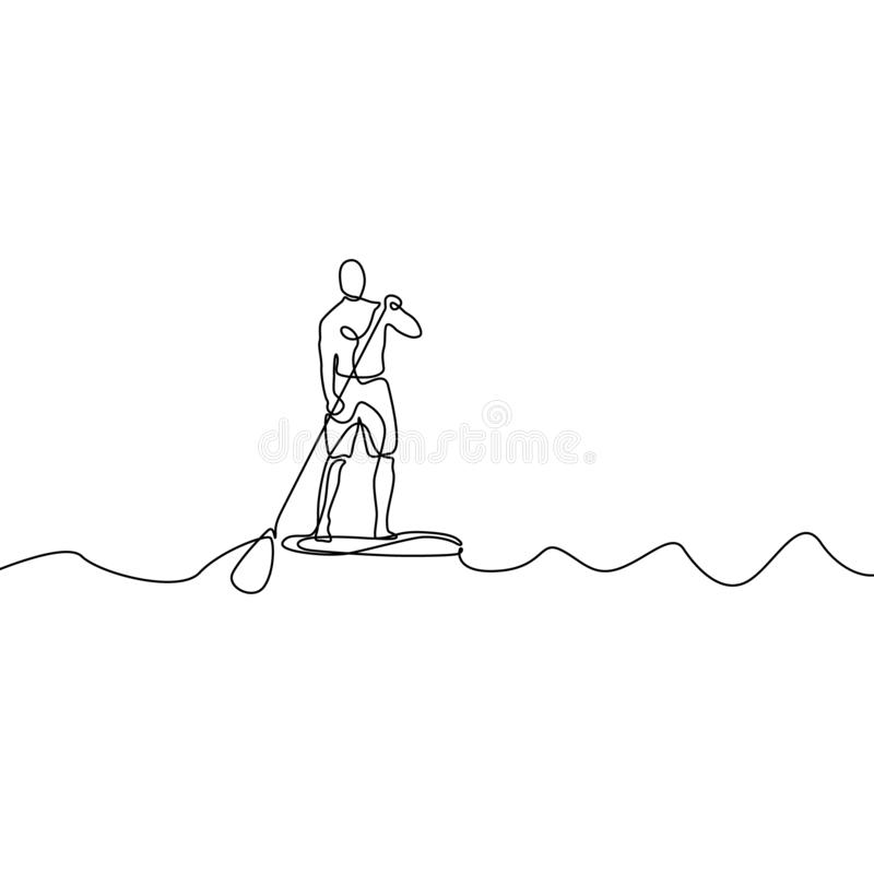 Continuous line man standing on paddle board. Vector illustration. vector illustration