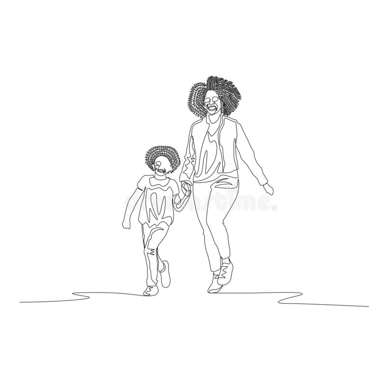 Continuous line mother and daughter with curly hairs walking holding the hand stock illustration