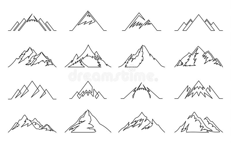 Continuous line mountains icons stock illustration