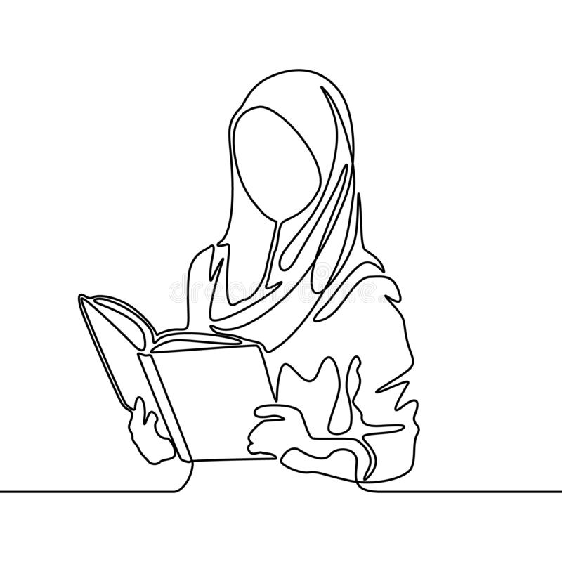 Continuous line muslim woman student reading a book. Vector illustration. stock illustration