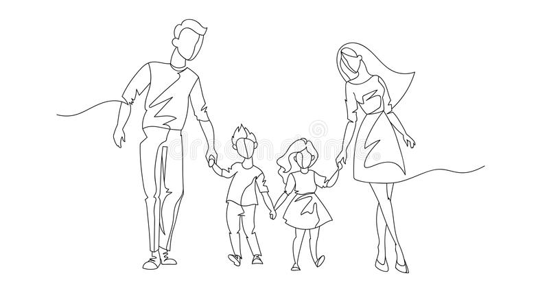 Continuous Line Parents Walking with Children. One Line Happy Family. Contour People Outdoor. Parenting Characters royalty free illustration