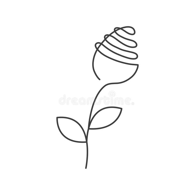 Continuous line rose with leaves. Abstract modern decoration, logo. Vector illustration. One line drawing of flower form royalty free illustration