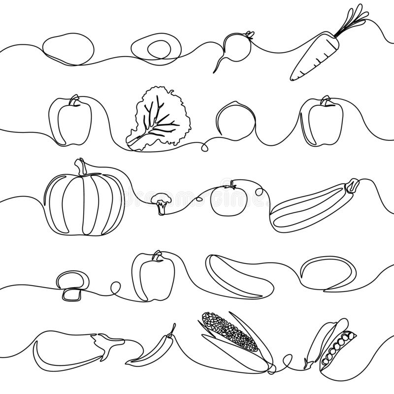 Continuous line set of vegetables, design elements for grocery. Vector illustration. royalty free illustration