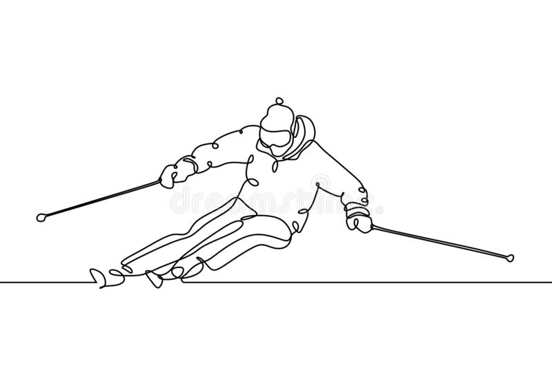 Continuous line ski racer drawings one hand drawn minimalism stock illustration
