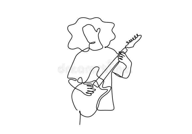 Continuous line young rocker guitarist playing guitar on white background. Drawing, vector, music, one, hand, electric, art, illustration, lines, drawn vector illustration