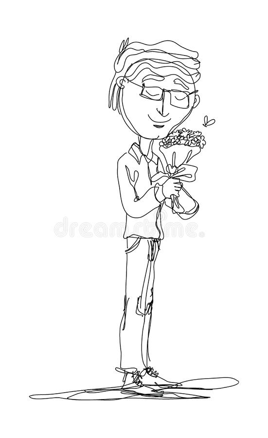 Continuous lines, men standing holding a bouquet of flowers. Vector illustration stock illustration