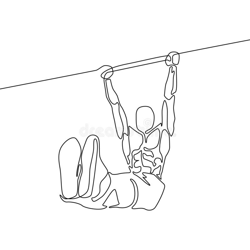Continuous line athlete hanging on horizontal bar and holds the corner with his feet royalty free illustration
