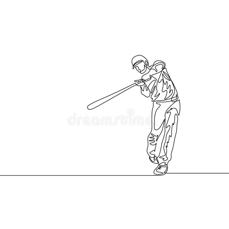 Continuous one line baseball batter hit the ball. Baseball theme stock illustration