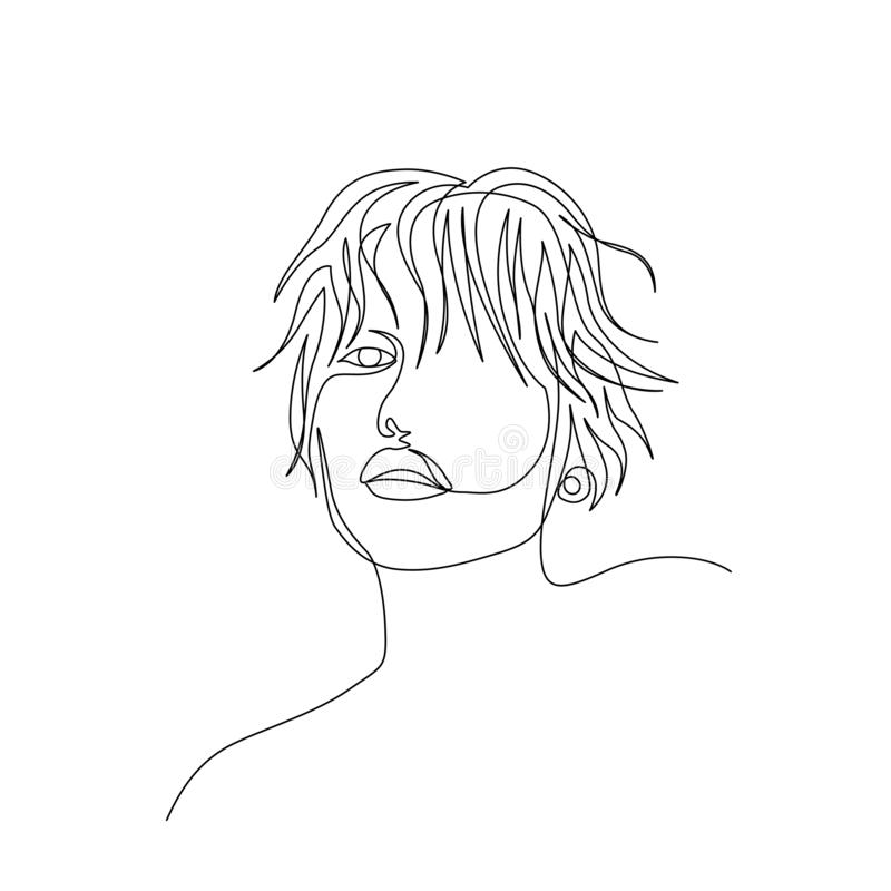 Continuous one line beautiful woman face with short wavy hair. Art vector illustration