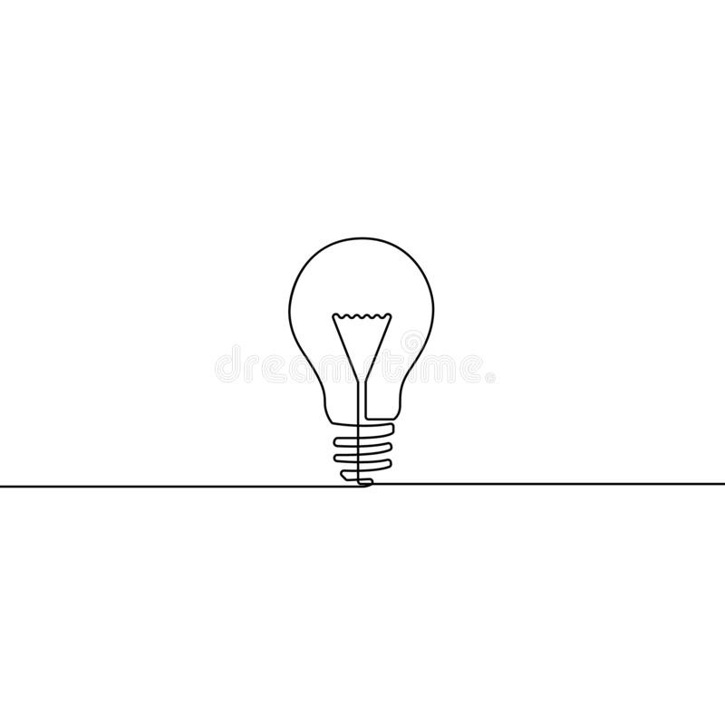 Continuous one line bulb - symbol of idea vector illustration