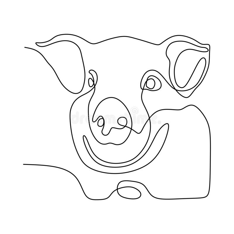 Continuous one line of cute pig head. Animal, vector, silhouette, outline, design, isolated, icon, illustration, logo, symbol, drawing, abstract, sketch royalty free stock images