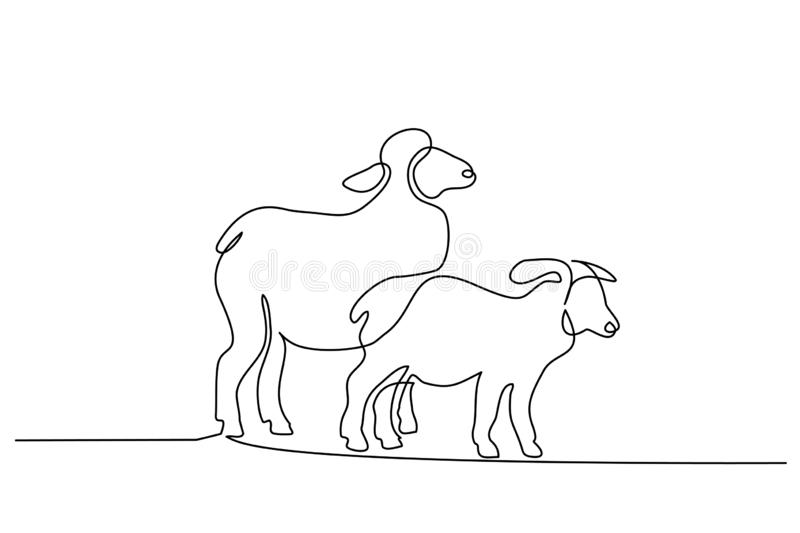 Continuous one line draw Sheep minimalistic style royalty free illustration