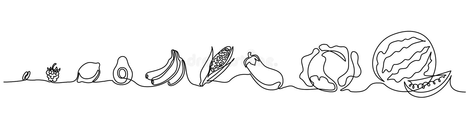 Continuous one line draw Vegetables different size vector illustration