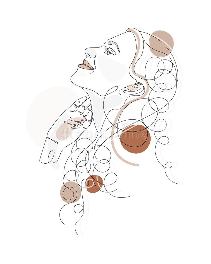 Continuous one line drawing. Abstract portrait of pretty young woman with beautiful hair. Vector soft illustration with color royalty free illustration