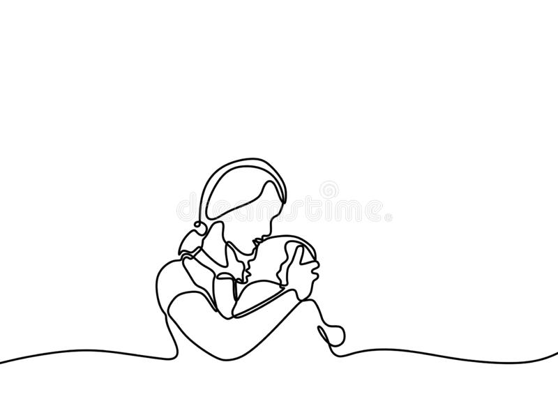 Continuous one line drawing of baby born and mother minimalist design. Love and happiness concept of mom. Vector, people, child, illustration, family, care vector illustration