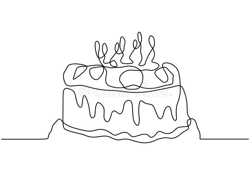 Fine Drawing Line Cake Stock Illustrations 6 216 Drawing Line Cake Personalised Birthday Cards Vishlily Jamesorg